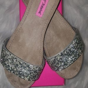 Betsey Johnson Silver Sequence Sandals